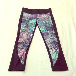 Fabletics capri leggings navy blue w/ teal/purple